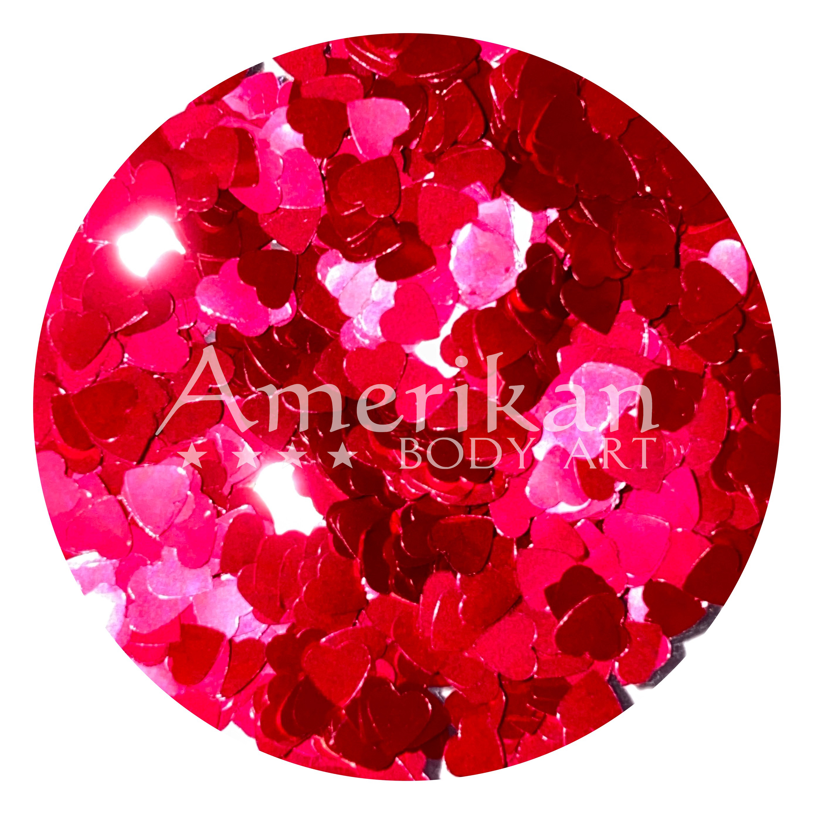 Red Chunky Glitter Hearts
